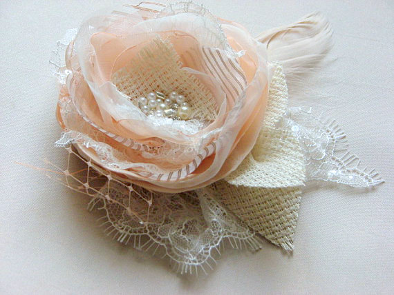 Wedding - Peach hair flower Ivory hair flower Rustic hair flower Bridal blush veil Peach hair clips Pastel hair flower Peach bridal flower Ivory lace