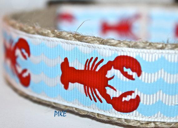 زفاف - Lobster Dog Collar / Handmade Dog Collar / Adjustable Dog Collar / Pike