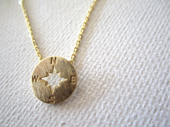 Mariage - Tiny Gold, Rose Gold or Silver compass necklace..simple handmade jewelry, north, south, west, east, bridal jewelry, bridesmaid gift