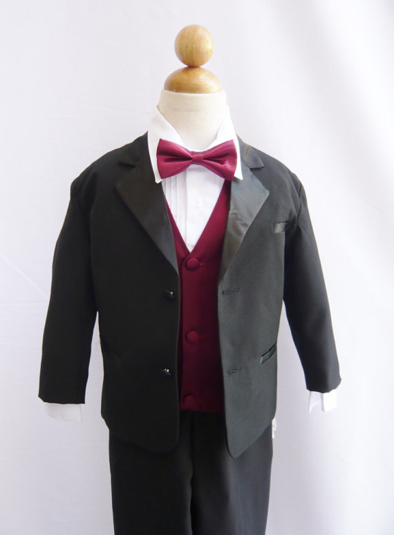 Hochzeit - Tuxedo to Match Flower Girl Dresses Color in Black with Burgundy Vest for Toddler Baby Ring Bearer Easter Communion Bow Tie