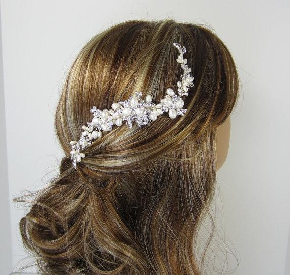 Mariage - Pearl Bridal Comb, ISABELLA Hair Comb Bridal hair comb, Wedding hair accessories, Bridal Headpieces, Rhinestone hair comb bridal