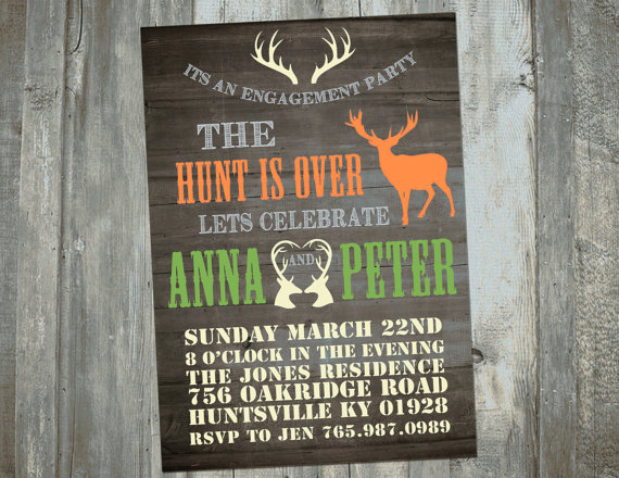 Rustic The Hunt Is Over Deer Hunting Themed Engagement Party