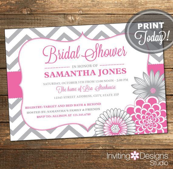 Hochzeit - Wedding Shower Invitation, Bridal Shower Invitation, Chevron, Floral, Ribbon, Pink, Gray, Grey, Printable (Custom Order, INSTANT DOWNLOAD)
