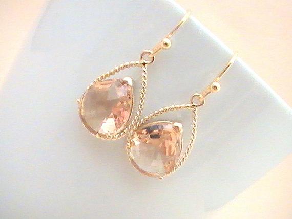 Свадьба - Peach Earrings- Champagne Earrings- Will You Be My Bridesmaid Gift Idea- Wedding Jewelry- Bridal Earrings- Maid of Honor- Dangle Drop