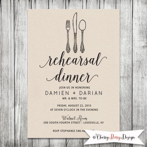 wedding rehearsal invite dinner invitation modern kraft With when to send wedding rehearsal invitations