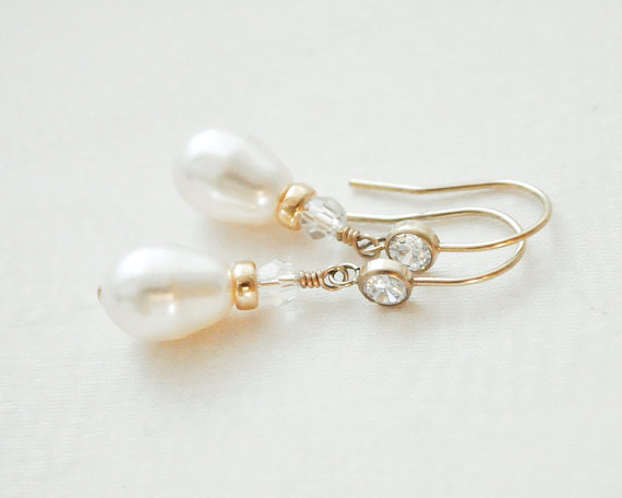 Mariage - 14kt Gold Fill Bridal Earrings, Gold Wedding Earrings, Gold Pearl and CZ Earrings, Gold Wedding Jewellery