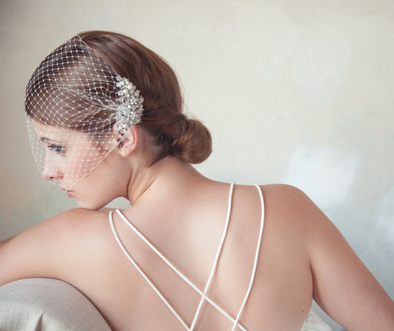 Wedding - Birdcage veil with detachable pearl crystal comb, Pearl veil, crystal veil, Bird Cage Veil, bridal blusher veil, wedding hair, QUICK SHIPPER