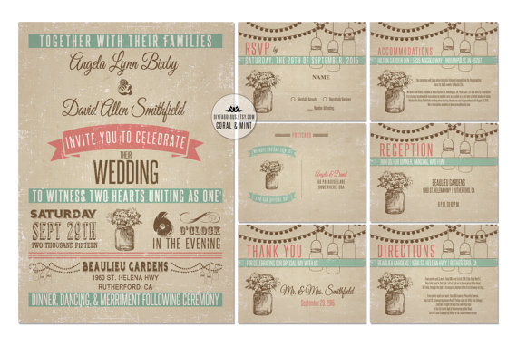 NEW Dark Vintage Mason Jar Wedding Invitation Printable Coral Mint