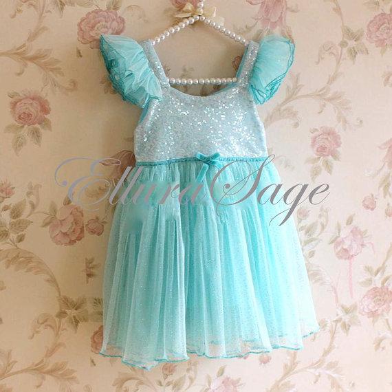 Wedding - Aqua Tutu Dress, Aqua Flower Girl Dress, Wedding Flower Girl Dress, Baby Girl Party Dress, Frozen Elsa Tutu Dress, Tutu Dress
