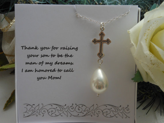 Grooms Gift To Mom: Mother Of The Groom Gift, Silver Cross, Pearl Necklace