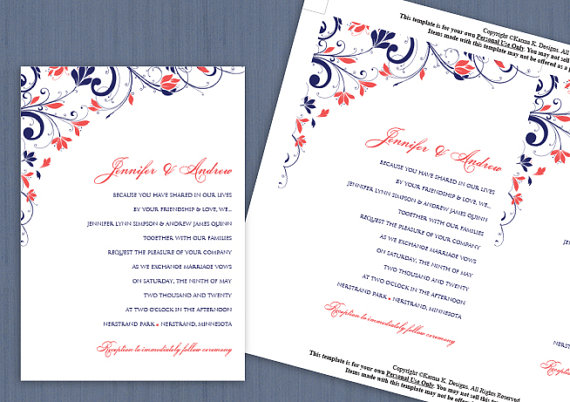 Wedding Invitation Template   DOWNLOAD Instantly   EDITABLE TEXT   Chic  Bouquet (Navy U0026 Coral) 5 X 7   Microsoft Word Format