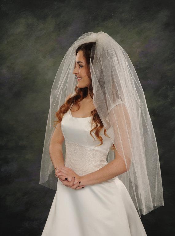Mariage - Two Layer Wedding Veils 42 Long Fingertip Bridal Veils Plain Cut Edge 72 wide Illusion Ivory Veils White Bridal Veils