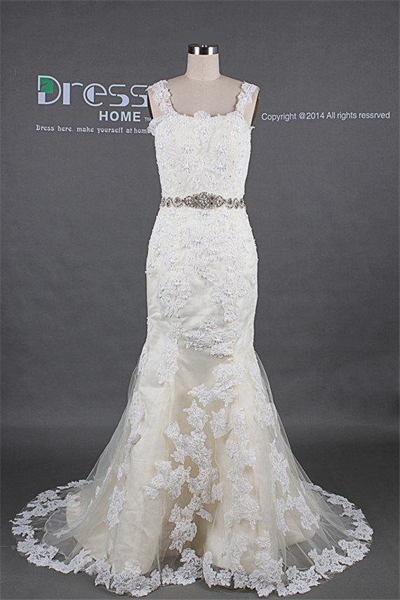 Mariage - Sexy Ivory Straps Rhinestones Beading Belt Lace Mermaid Wedding Dress/Elegant Long Fishtail Wedding Gown/Luxury Train Bridal Dresses DH251