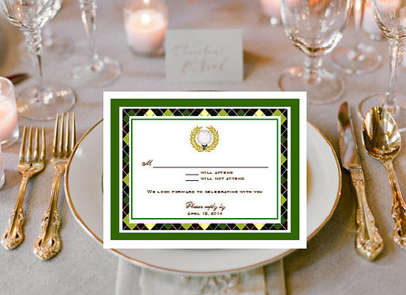 Wedding - GOLF WEDDING PARTY Theme Ideas Supplies - response cards notes
