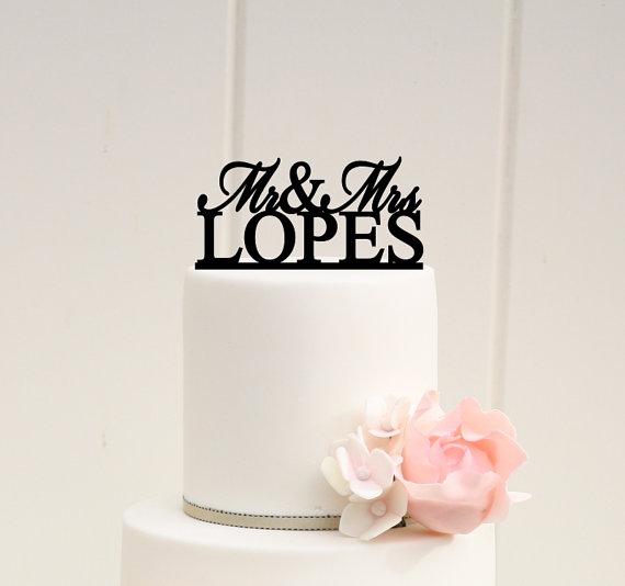 زفاف - Personalized Mr and Mrs Wedding Cake Topper with YOUR Last Name
