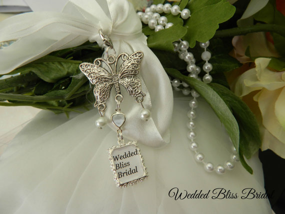 "Mariage - Wedding Bouquet Butterfly  photo charm -Living or Memory Keepsake - ""something Blue Gift Boxed"
