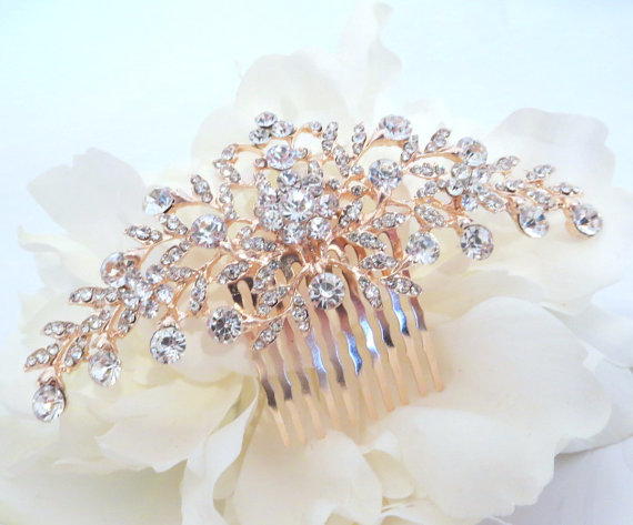 Mariage - Rose gold bridal hair comb, Wedding hair comb, Rose gold headpiece, Veil comb, Bridal hair accessory