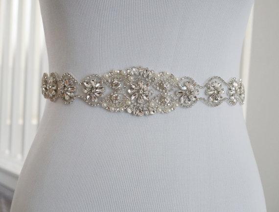 Mariage - Wedding Belt, Bridal Belt, Sash Belt, Crystal Rhinestone Belt, Style 147