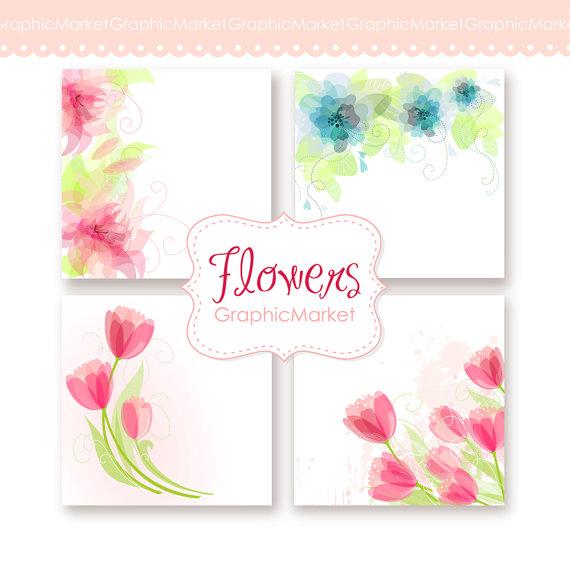 زفاف - Wedding Digital Floral clip art for wedding invites, scrapbooking. 4 Printable Wedding Invitation Card Templates