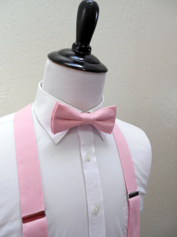 Mariage - Light Pink Bowtie and Suspenders - Men, Teen, Youth