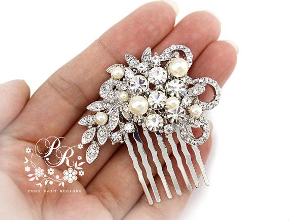Mariage - Wedding Hair Comb Swarovski Pearl Rhinestone Bridal Hair Comb Wedding Jewelry Bridal Jewelry Hair Accessory Bridesmaid Hair Comb
