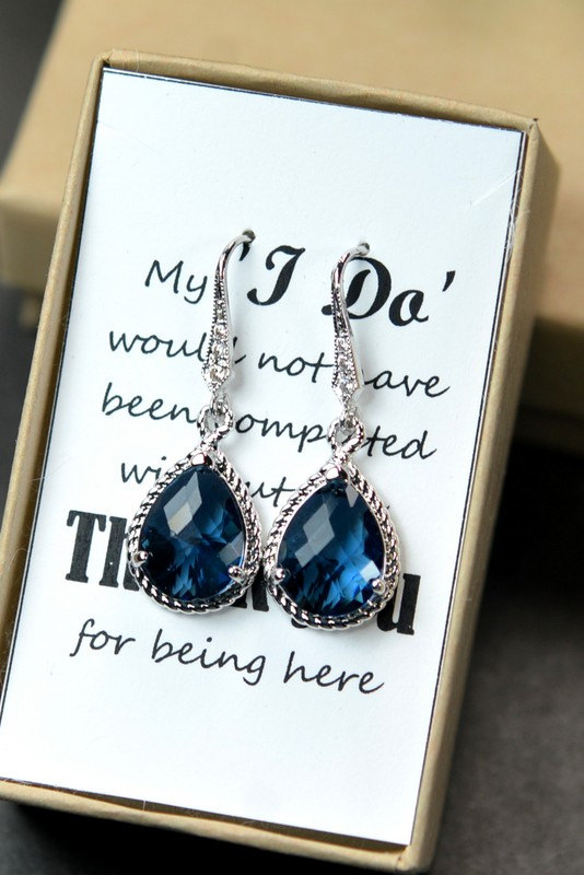 Mariage - Navy blue,sapphire blue Wedding Jewelry Bridesmaid Gift Bridesmaid Jewelry Bridal Jewelry tear Earrings & necklace SET,bridesmaid gift