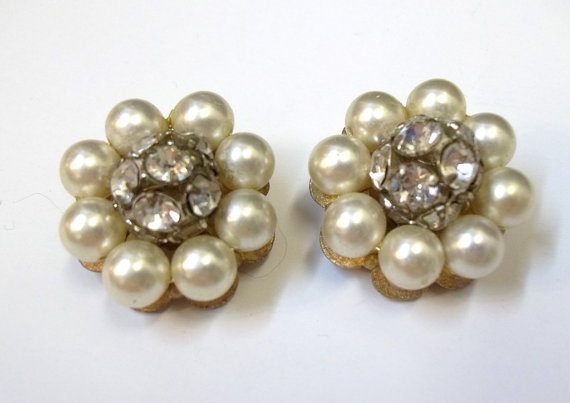 Vintage Ivory Pearl Rhinestone Earrings Clip On Wedding Bridal Flower Dd 755