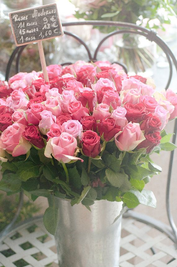 Wedding - Paris Photography - Pink And Red Roses In Parisian Market, Romantic French Home Decor, Wall Art