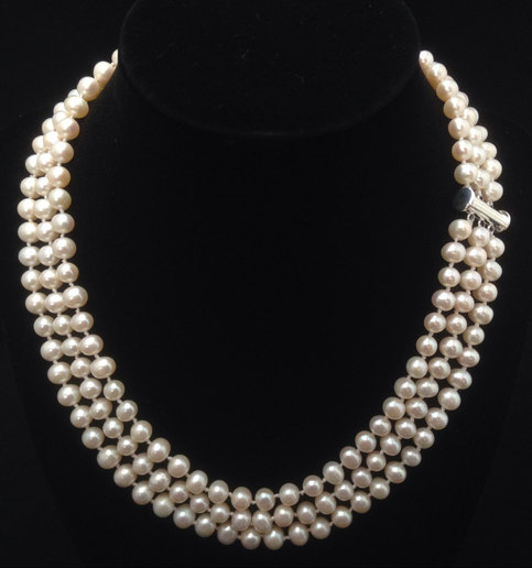 Mariage - Triple Strand Pearl Necklace, Genuine Pearl Necklace, AA  Pearl Necklace, Freshwater Pearl Necklace, 6mm-6.5mm from ADARNA GALLERY