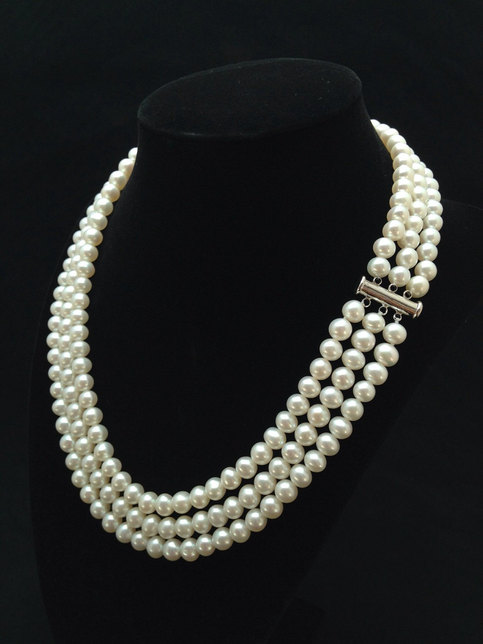 Mariage - Genuine Pearl Necklace, AAA  Pearl Necklace, Triple Strand Pearl Necklace, Multi strand Freshwater Pearl Necklace from ADARNA GALLERY