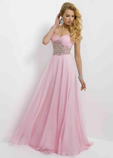 Wedding - Fashion Cheap Long Strapless Ruched Rhinestone Beaded Crystal Pink Prom Dress