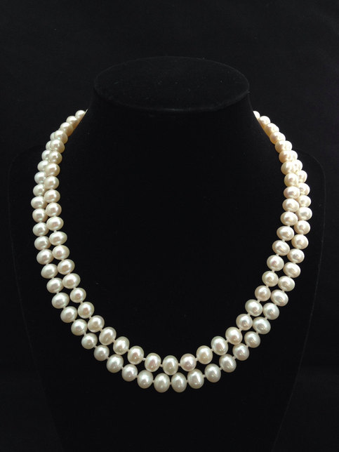 Wedding - Genuine Pearl Necklace, AA  Pearl Necklace, Double Strand Pearl Necklace, Multi strand Freshwater Pearl Necklace from ADARNA GALLERY