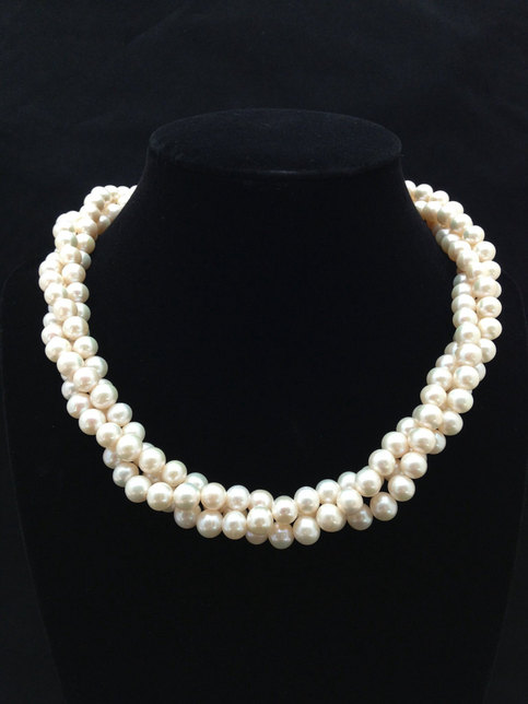 Wedding - Twisted Triple strand Pearl Necklace,AA  Multi Strand Genuine Pearl Necklace,Freshwater Pearl Necklace from ADARNA GALLERY