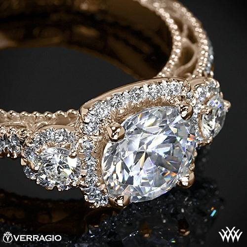 20k Rose Gold Verragio AFN 5025CU 4 Triple Halo 3 Stone Engagement Ring 2249