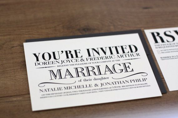 Mariage - Printable / Vintage Modern Essentials Wedding Invitation Kit (DIY)