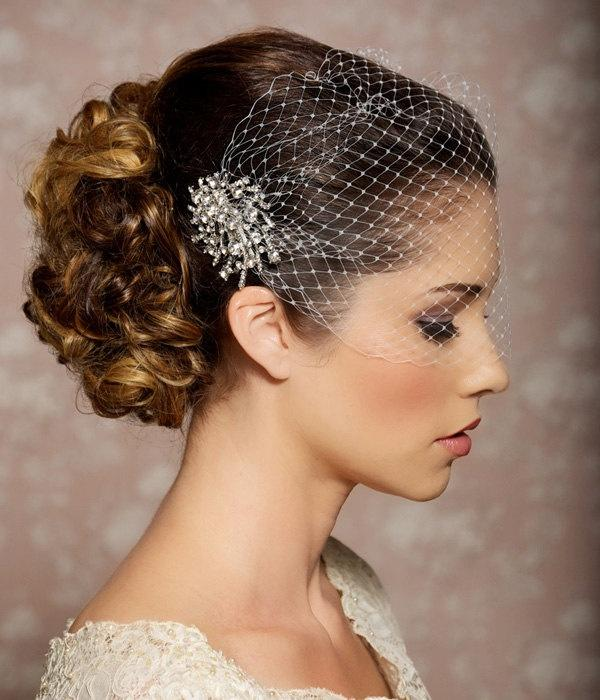 Mariage - Bridal Veil And Bridal Comb, Bandeau Birdcage Veil, Bird Cage Veil - READY TO SHIP - With Rhinestone Fascinator Comb - The Veronica Veil