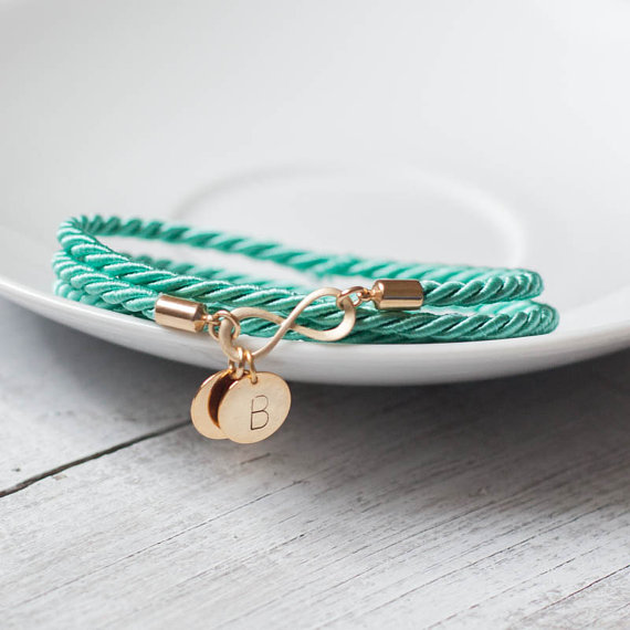 Свадьба - Turquoise infinity charm initial bracelet  cord rope personalized jewelry monogram letter gift bridal wedding  bridesmaid wrap rope rusteam