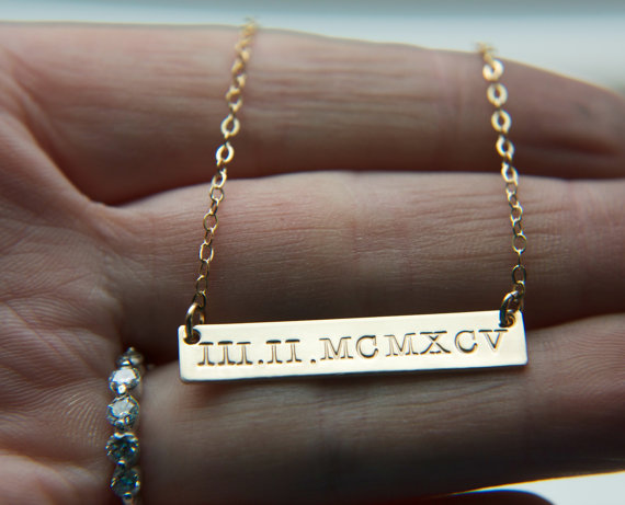 etsy numeral engraved date gold on wedding bar designjustforu store roman wanelo horizontal necklace