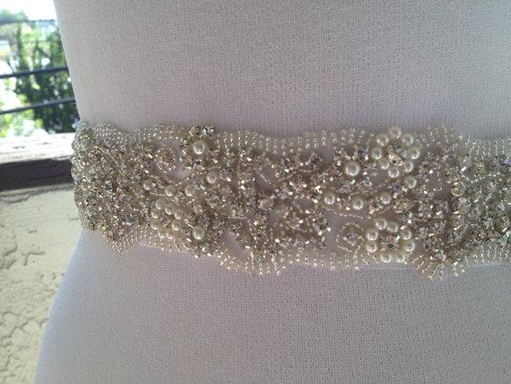 Свадьба - 14 inch Wedding Bridal Sash ,Pearl Rhinestone Beaded Sash Belt,Best Seller Sash