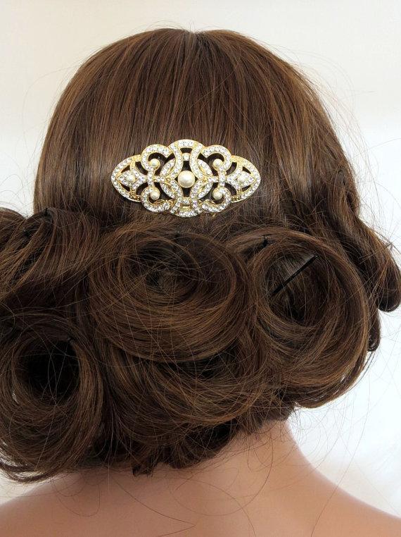 Свадьба - Gold bridal hair comb, Wedding hair comb, Bridal veil comb, Swarovski crystal headpiece, Art deco hair comb