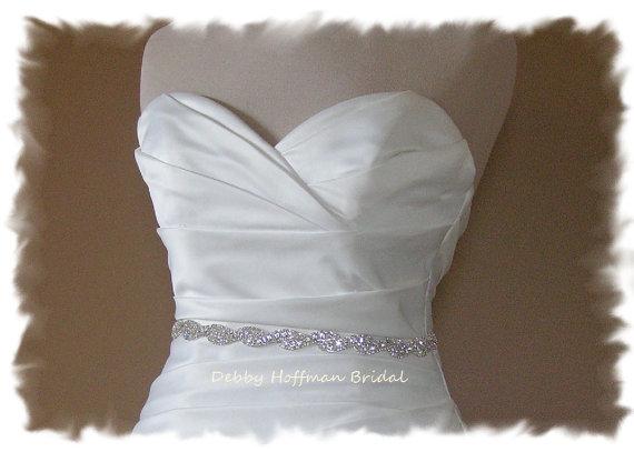 زفاف - SALE ~ Jeweled Bridal Sash, 18 Inch Rhinestone Wedding Belt, Crystal Sash, Crystal Rhinestone Belt, No. 5050S-18, Rhinestone Bridesmaid Sash
