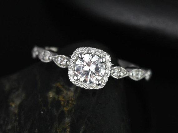 زفاف - Christie 5mm 14kt Round White Sapphire and Diamonds Cushion Halo WITH Milgrain Engagement Ring (Other metals and stone options available)