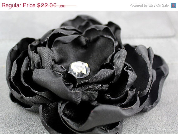 Mariage - ON SALE Black Satin Dog Collar Flower - Wedding Party Accessory