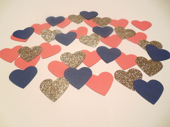 Navy Blue Coral Glitter Gold Heart Confetti Nautical Confetti Nautical Bridal Shower Navy And ...