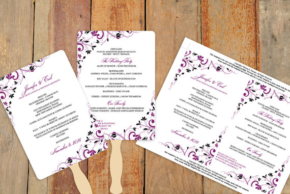 Mariage - Diy Wedding Fan Program Template - DOWNLOAD Instantly - EDITABLE TEXT - Chic Bouquet (Sangria & Black) 5 x 7 - Microsoft® Word Format