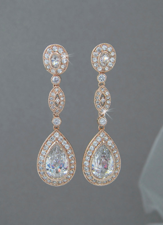 Rose Gold Bridal Earrings Wedding Long Dangle Vintage Style Yellow Swarovski Jewelry Christine