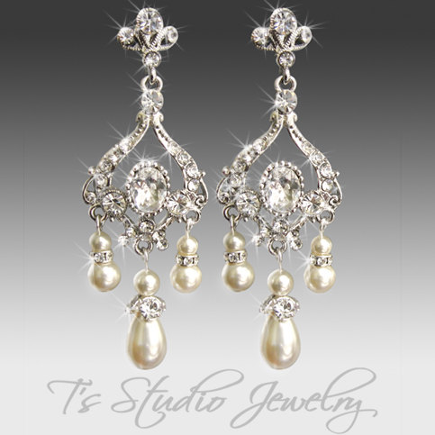 Pearl Bridal Chandelier Earrings Crystal And Rhinestone Silver Wedding Jewelry Jasmine