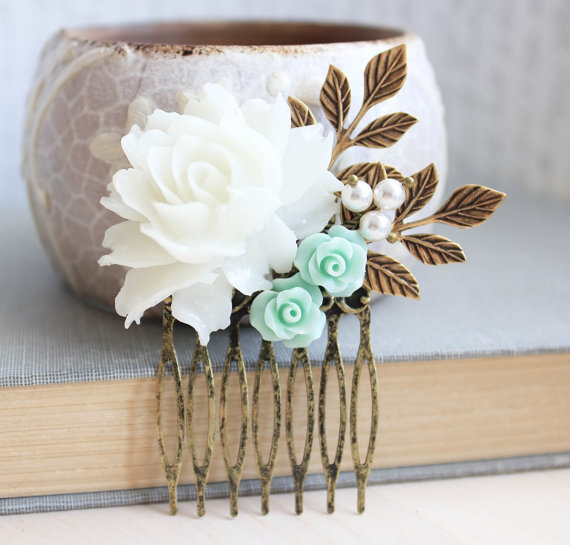 Mariage - White Rose Comb Mint Rose Floral Collage Pastel Aqua Bridal Hair Accessories Gold Leaf Leaves Beach Wedding Nature Inspired Hair Piece