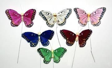 Mariage - 12 pc 3 Inch Feather Butterfly in Soft Jewel-Tones Colors