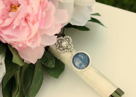 Mariage - Wish- Rhinestone Bridal Bouquet Photo Charm or Brooch with Matching Keepsake Photo Tin